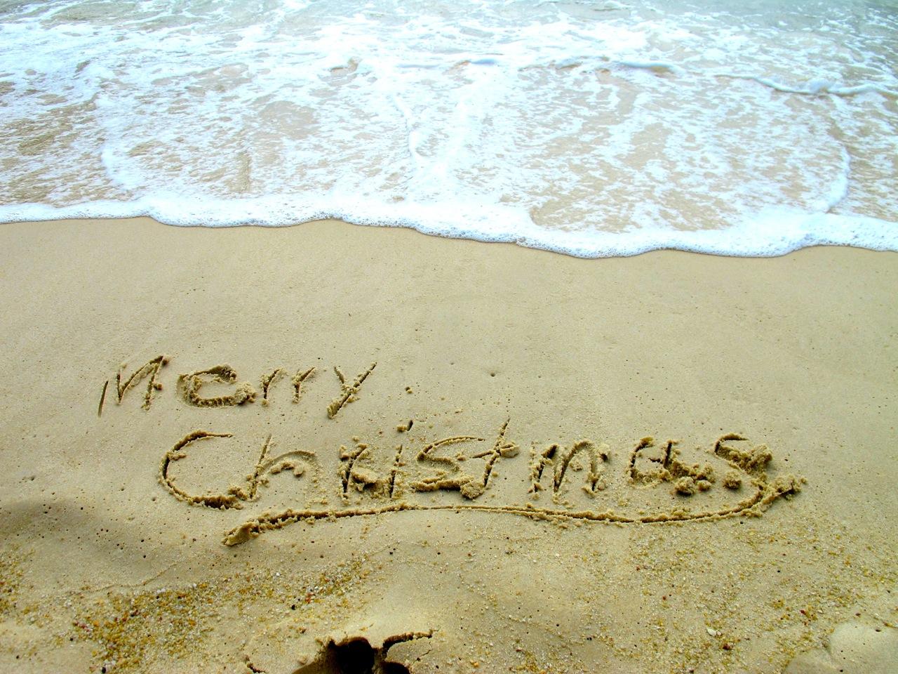 Frohe Weihnachten vom Strand