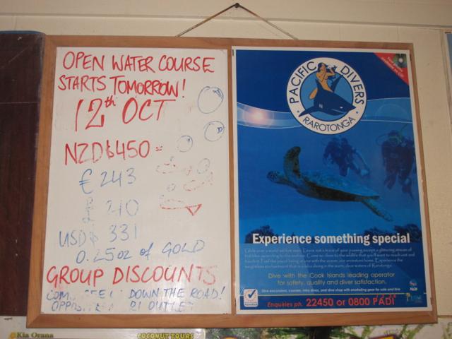 Der Preis für einen Tauchkurs auf den Cook Islands.